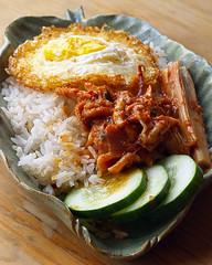 Fried egg with nasi lemak