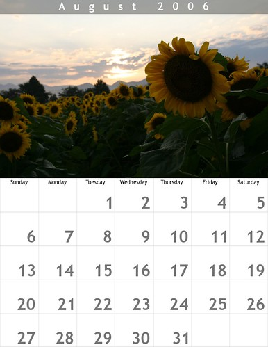 Calender for August