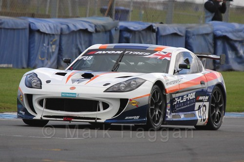The Fox Motorsport Ginetta G55 GT4 of Jamie Stanley and Paul McNeilly in British GT Racing at Donington, September 2015