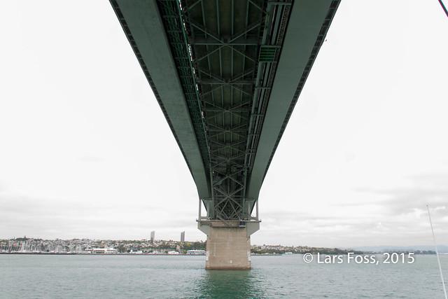 Auckland Harbour Bridge seen from down under