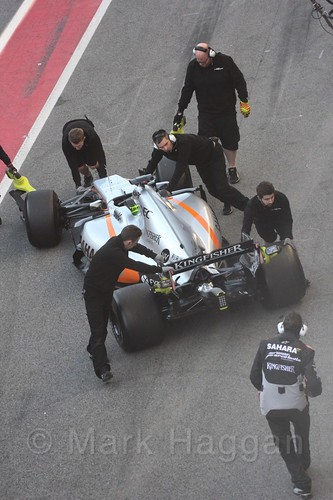 Sergio Perez in his Force India in Formula One Winter Testing 2017