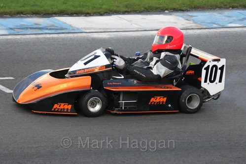 Irvin Henrickson in his Cyclone Honda in Superkart racing during the BRSCC Winter Raceday, Donington, 7th November 2015