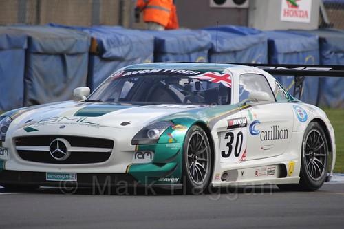 The RAM Racing Mercedes-Benz SLS AMG GT3 of Lewis Plato and Bradley Ellis in British GT Racing at Donington, September 2015