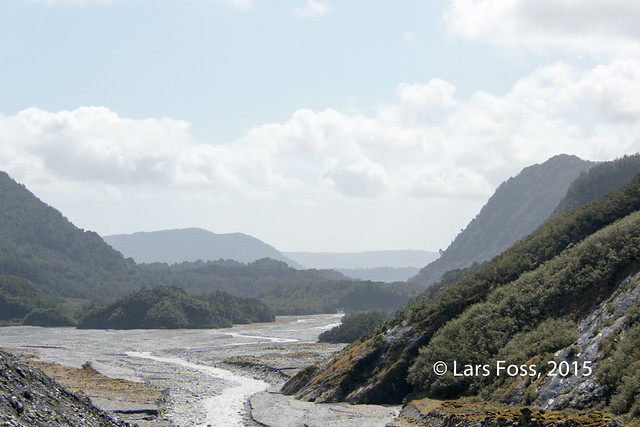 View down Waiho River