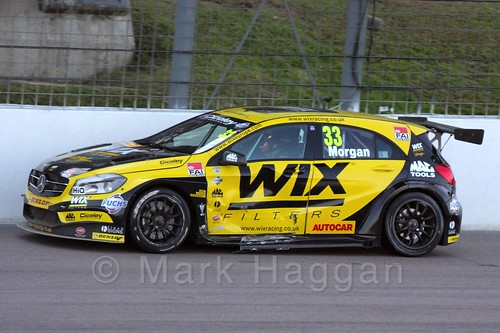 Adam Morgan in BTCC action at Rockingham 2015