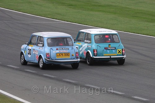 Laura Harris races Ben Butler in Mighty Minis at Donington Park, October 2015