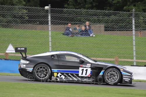 The 22GT Racing Aston Martin V12 Vantage GT3 of Jon Barnes and Mark Farmer in British GT Racing at Donington, September 2015