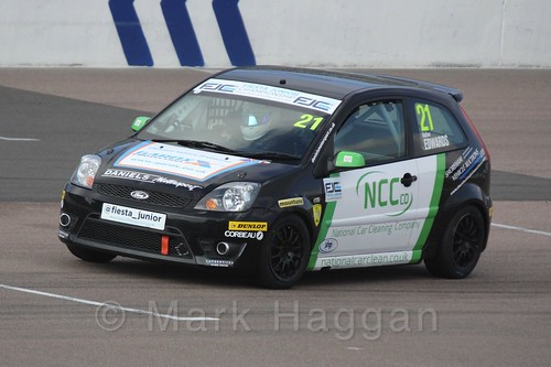 Nathan Edwards in Race 1, Fiesta Junior Championship, Rockingham, Sept 2015