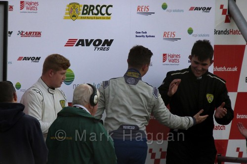 Race Winner Michael Higgs congratulates series winner Aaron Thompson on the podium at Fiesta Junior Championship, Brands Hatch, 2015