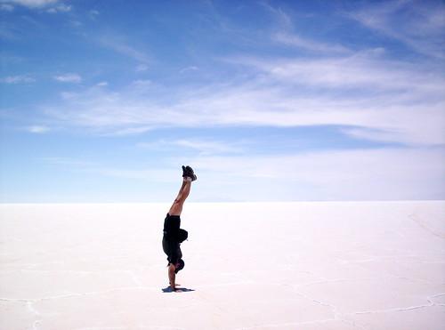 Salar de Uyuni, Bolivia - arched handstand