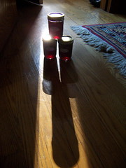 Three Jars of Currant Jelly on the Floor in the Sun