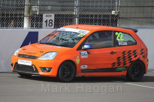 Elliot Wilson in  Race 1 at the BRSCC Fiesta Junior Championship, Rockingham, Sept 2015