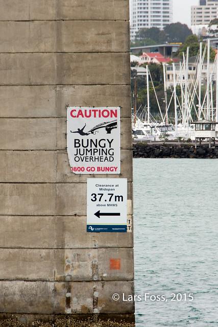 Sign at Auckland Harbour Bridge