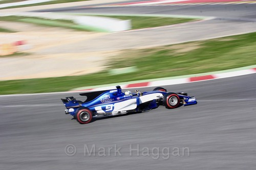 Marcus Ericsson in his Sauber in Formula One Winter Testing 2017