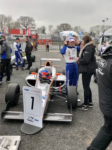 Ayrton Simmons wins Race Three at the British F4 event at Brands Hatch, April 2018