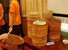 Stacks of dumpling steamers