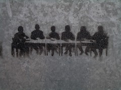 Meeting room stencil graffiti