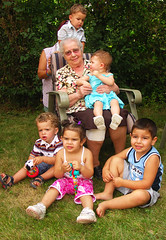 grandma and her great grandchildren