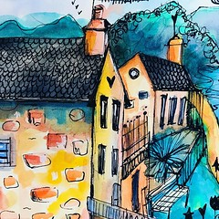 """I'm not really a """"landscape artist"""" but some of the scenery here in Scotland invited some quick sketching/ water-colouring. Quite like it :) #sketching #travelart #watercolour #willowing #willowingarts #mixedmedia #mixedmediaart #artistsofinstagram #tamar"""