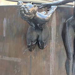 The water runs off this statue in a rather unfortunate fashion