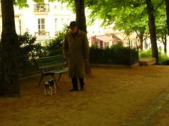 Walking his dog
