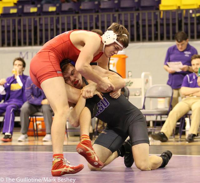 165- Zach Johnston, MSU, won by injury default over Parker Osterman, 3:00 (8-7)