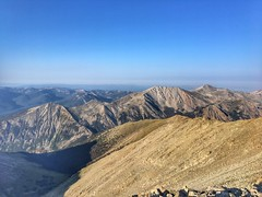 On the summit of Tabeguache Peak looking down the southwest ridge