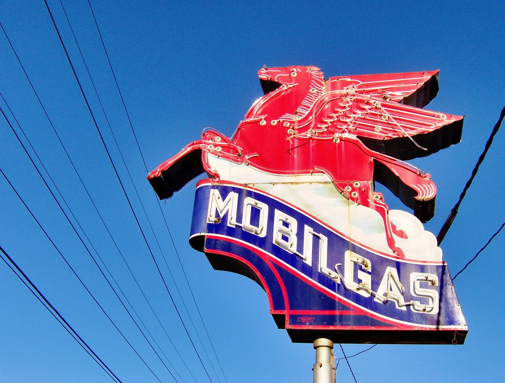 Mobil Oils - Flatbush Avenue & Mobil Gas by Chris Adams, Lonely Pictures
