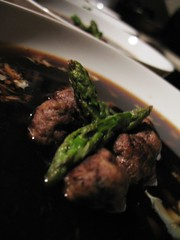 Sparkling Beef Consomme with Buffalo Meatballs and Asparagus Tips