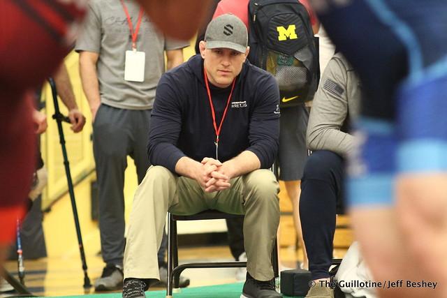 Penn State coach Cael Sanderson. 180519CJF0155