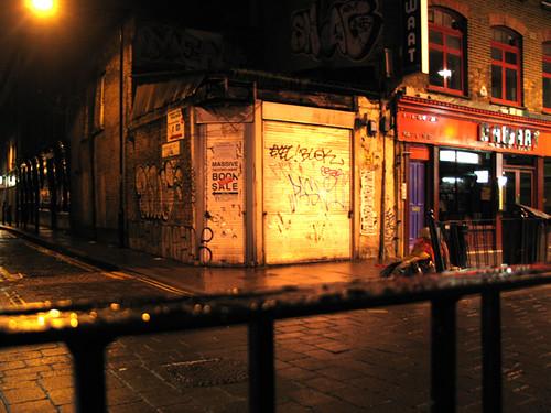 street corner night time in london
