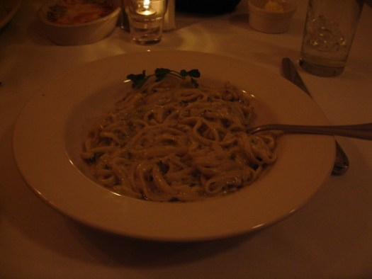 linguine pasta with basil pesto cream sauce, Giardina's, Greenville MS