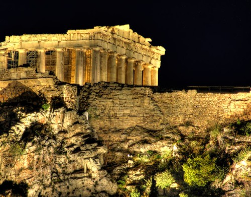 The Parthenon illuminated