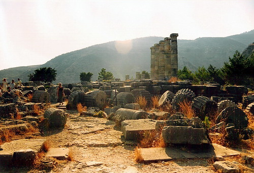 Sunset in Priene , Temple of Athena