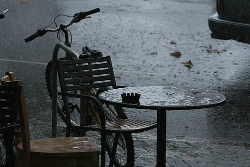 rainy shot of a bike near a cafe in kew, London, England