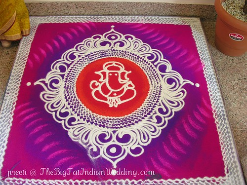 Ganpathi Rangoli Designs with sand