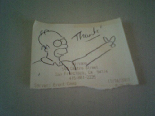 Another cool receipt doodle from Brent-Dawg at Nirvana
