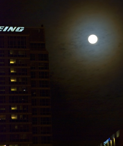 Wintry Moon Rise over Boeing