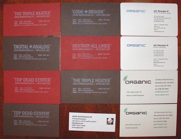 jm3 : director, user experience : my business cards