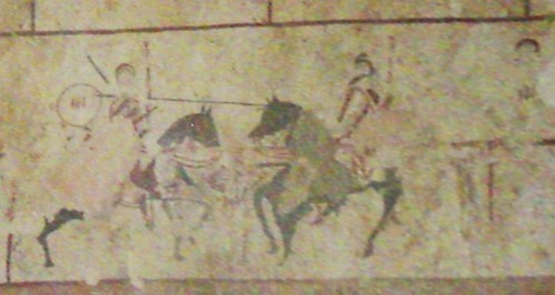 Painting depicting jousting knights