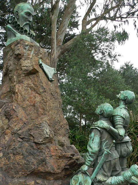 Don Quixote and Sancho Panza worship a shrine to Cervantes in Golden Gate Park (1)