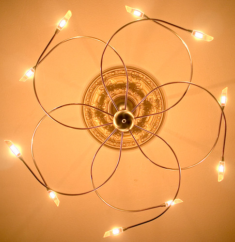 lamp of wires and LEDs at the end, shape of flower