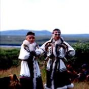 Nenets women dressed up for celebration, Pechora Delta, Nenets Autonomous Region, Russia.