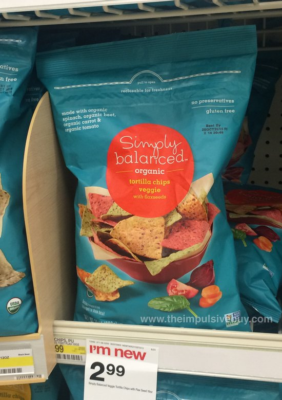 Target Simply Balanced Organice Veggie Tortilla Chips with Flaxseeds