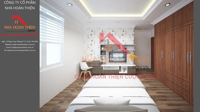 Bản vẽ 3D nội thất Phòng Ngủ 2 - Lầu 1 căn L2.8 dự án CityLand Garden Hills - Gò Vấp