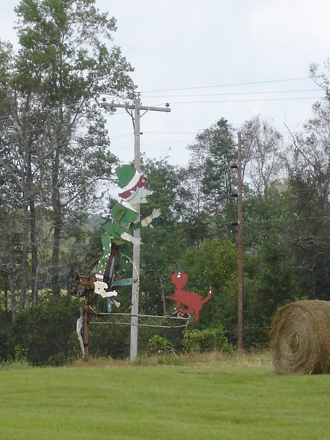 Elf on Unicycle with Jumping Dog at Jim Bird's Hay Creations, Forkland AL