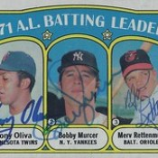 1972 Topps American League / Batting Leaders #86 - Tony Oliva (Minnesota Twins) / Bobby Murcer (N.Y. Yankees) (b. 20 May 1946 – d. 12 Jul 2008 at age 62) / Merv Rettenmund (Baltimore Orioles) - Triple Signed / Autographed Baseball Card