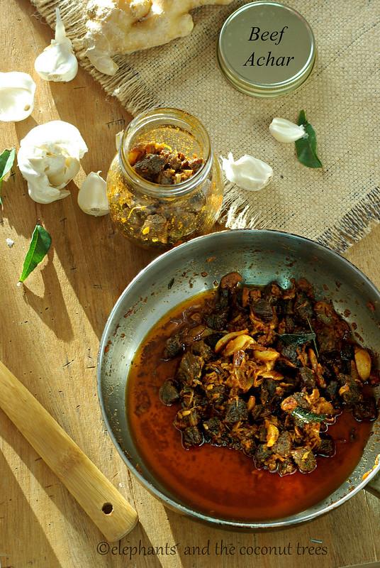 Beef pickled Kerala style erachi achar, beef achar