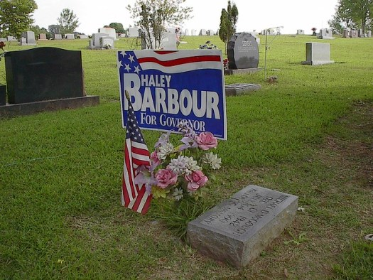 Political Sign for Haley Barbour at Cemetery Monument, Yazoo City MS