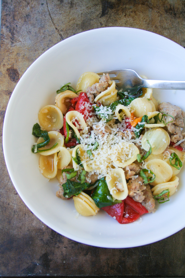 orecchiette with roasted red peppers and sausage [ inthiskitchen.com ]